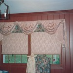 custom pink valences and window shades